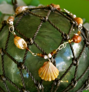 Hawaiian Sunrise Shell/Hawaiian shell and beads anklet, sterling silver