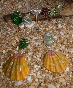 Hawaiian Sunrise shell beach glass pendants