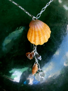 Hawaiian Sunrise shell chain of charms necklace, beach glass, hawaiian shells, fresh water pearls, sterling silver