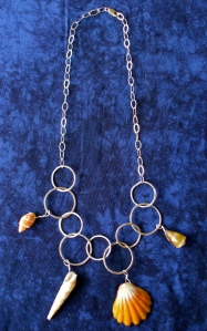 Hawaiian Sunrise/ Hawaiian shell hammered hoop Necklace, sterling silver