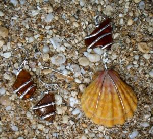 Hawaiian Sunrise shell and beach glass earrings set