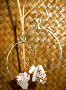 Hawaiian shell hammered hoop earrings