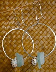 Beach glass hoop earrings, shells, sterling silver
