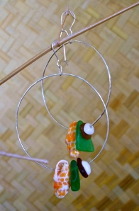 Giant Sterling Silver Hoops, hammered texture, beach glass and shells