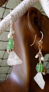 White green beach glass chain of charms earrings