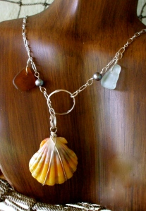 Hawaiian Sunrise shell, beach glass, fresh water pearls lariet style necklace, sterling silver