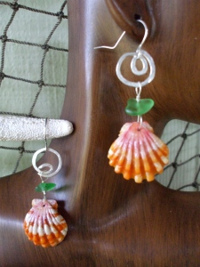 Hawaiian Sunrise shell, beach glass, small hammered swirl hoops, sterling silver