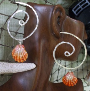 Sunrise Shell earrings, wrapped shells hanging from large hammered swirl hoops