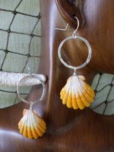 Hawaiian Sunrise shell earrings, shells hanging from medium hammered hoops, sterling silver