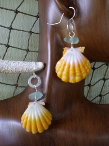 Hawaiian Sunrise shell earrings, beach glass small hammered hoops, sterling silver