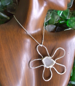 Beach Glass flower pendant, North shore beach glass bezeled in hammered sterling silver
