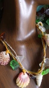 Lei necklace, Hawaiian Shells, beach glass, sunrise shells