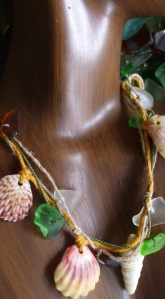 Lei necklace, Hawaiian Shells, beach glass, sunrise shells
