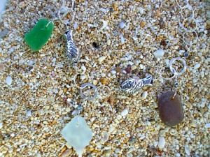 Beach Glass necklace, sterling silver fish