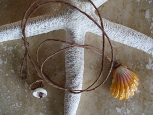 Hawaiian Sunrise Shell necklace, sand resin filled back puka shell clasp, hemp