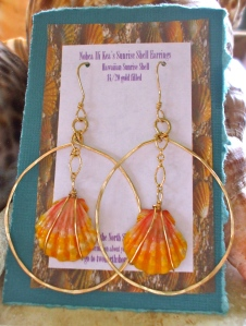 Hawaiian Sunrise shell earrings, wrapped shells enclosed in large oval hammered hoops, 14/20 gold filled