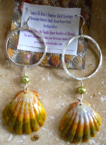 Hawaiian Sunrise shell earrings, shells and fresh water pearls hanging from medium sized hammered hoops, sterling silver