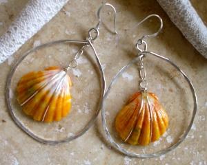 Hawaiian Sunrise Shell oval hoop earrings hammered sterling silver
