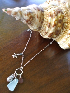 Hawaiian shells charm necklace, sterling silver
