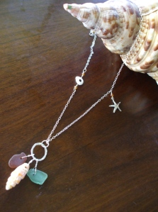 Hawaiian shell, North Shore beach glass charm necklace, sterling silver
