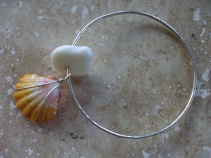 Hawaiian Sunrise and Puka shell bangle, hammered sterling silv