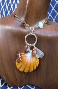 Hawaiian Sunrise shell, beach glass, fresh water pearl charm necklace with embellished chain, sterling silver