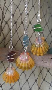 Hawaiian Sunrise shell wrapped shell wrapped beach glass pendants