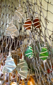 North Shore beach glass earrings wrapped in sterling silver