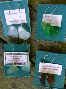 Beach glass earrings, hammered stretched ear wires, sterling silver