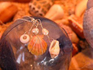 Hawaiian Sunrise shell treasure necklace, Hawaiian shells, fresh water pearls, sterling silver, small