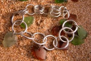 Beach glass charm bracelet