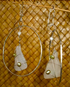 Large Sterling Silver Hoops with White wWrapped Beach Glass and Light Green Fresh Water pearls