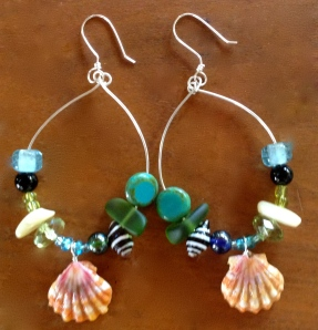 Hawaiian Sunrise Shell Earrings, beads and sterling silver