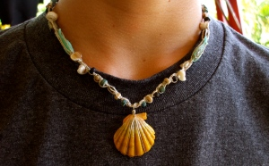 Hawaiian Sunrise shell macrame hemp necklace with shell pieces and beads