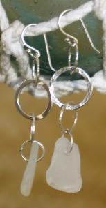 beach glass earring 2 tiers