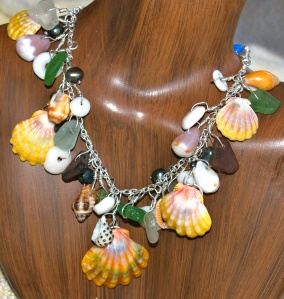Sunrise and Hawaiian shell deluxe necklace, beach glass, sterling silver.