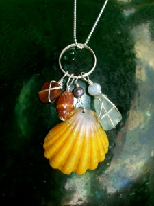 Hawaiian Sunrise shell charm necklace, beach glass, Hawaiian shells, fresh water pearls, sterling silver