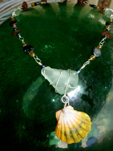 Hawaiian Sunrise shell necklace, beach glass embellished chain with beads and fresh water pearls
