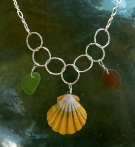 Hawaiian Sunrise shell necklace, beach glass, small hammered hoops, sterling silver