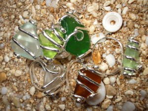 Beach Glass rings, north shore beach glass wrapped in sterling silver
